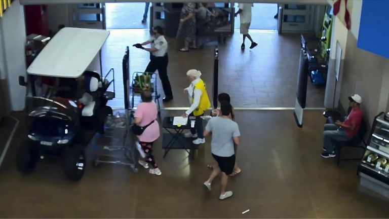 A man was arrested after driving a golf cart through a Walmart store in the Tampa area of Florida.