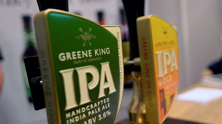 Greene King IPA beer pumps