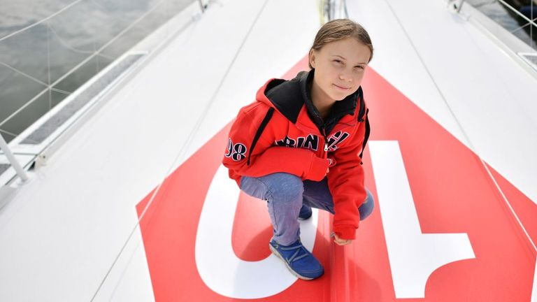 Swedish climate activist Greta Thunberg onboard the Malizia II yacht at the Mayflower Marina in Plymouth on August 13, 2019