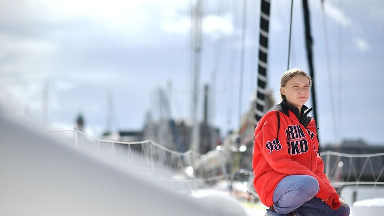 Swedish climate activist Greta Thunberg onboard the Malizia II sailing yacht at the Mayflower Marina in Plymouth on August 13, 2019