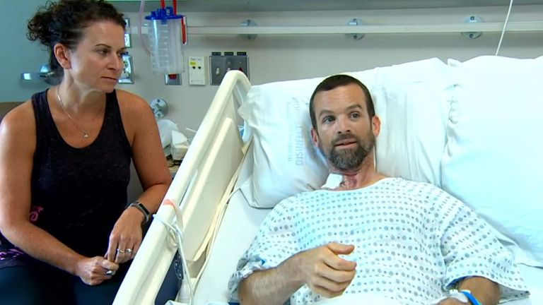 Colin Dowler recovering in hospital with his wife, Jen Dowler. Pic: CBC