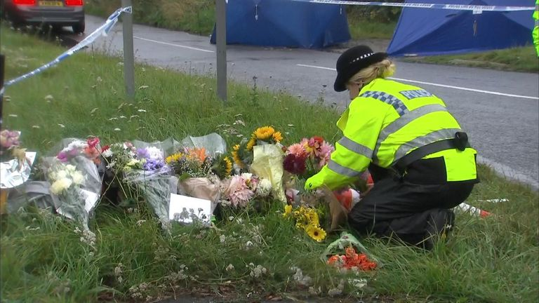 The flowers laid for PC Andrew Harper laid on the road nearby his death