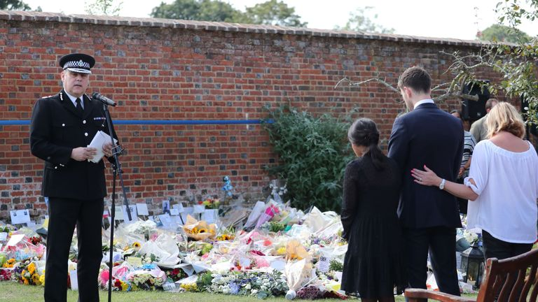 A minute's silence takes place for PC Andrew Harper at the Thames Valley Police Training Centre