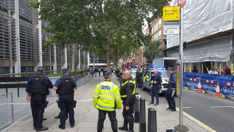 A police cordon outside the Home Office in London after an incident in which a man was stabbed