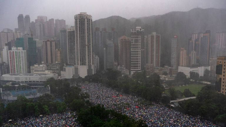 Hundreds of thousands of people rally on the streets on Hong Kong