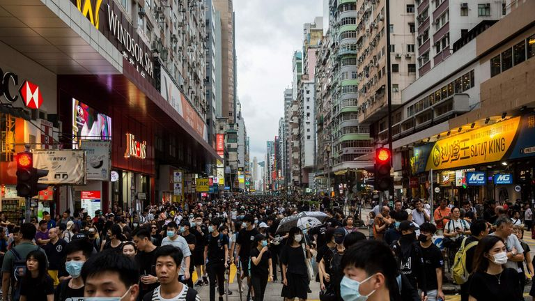 Protesters moved past the rally's agreed end-point and on to the popular shopping area of Mong Kok