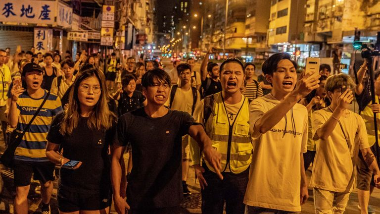 Protests took place in Sham Shui Po on Thursday night
