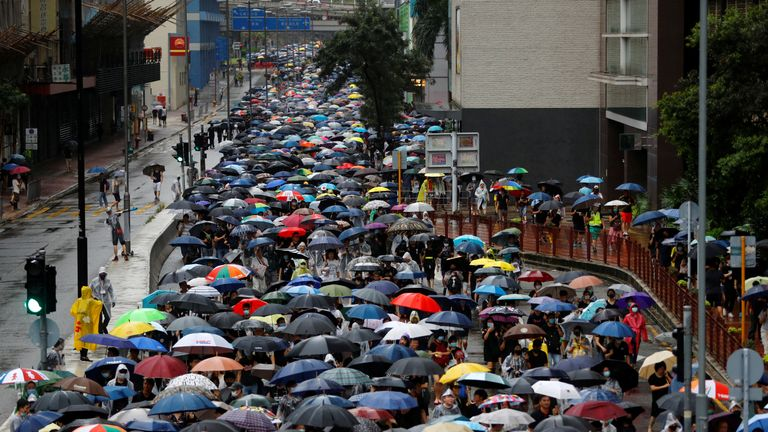 Protest march in Hong Kong