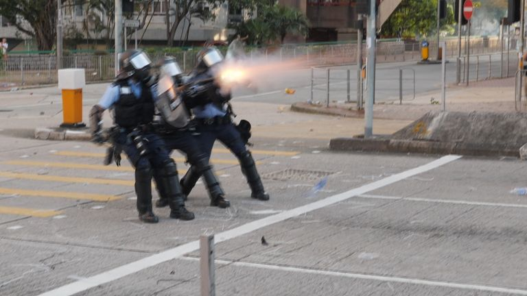 The police were being attacked on three sides