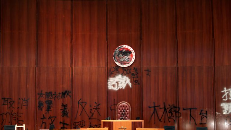 Damage inside the Legislative Council building after protesters stormed it