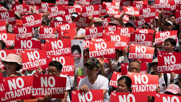Protesters demonstrate against the extradition bill on 9 June