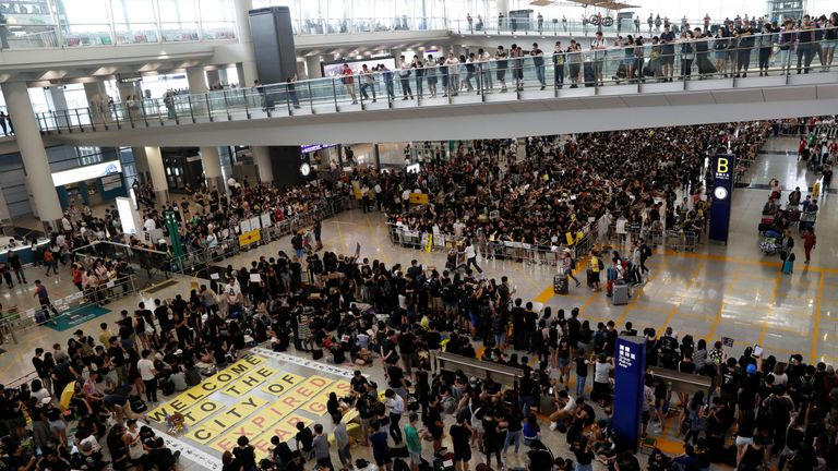 A protests took place in the arrivals hall of Hong Kong Airport