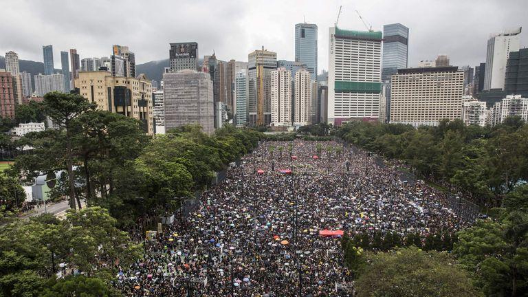 Protesters gather in Victoria Park