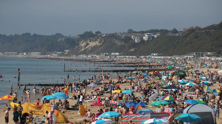 A busy day at Bournemouth beach on Bank Holiday Monday