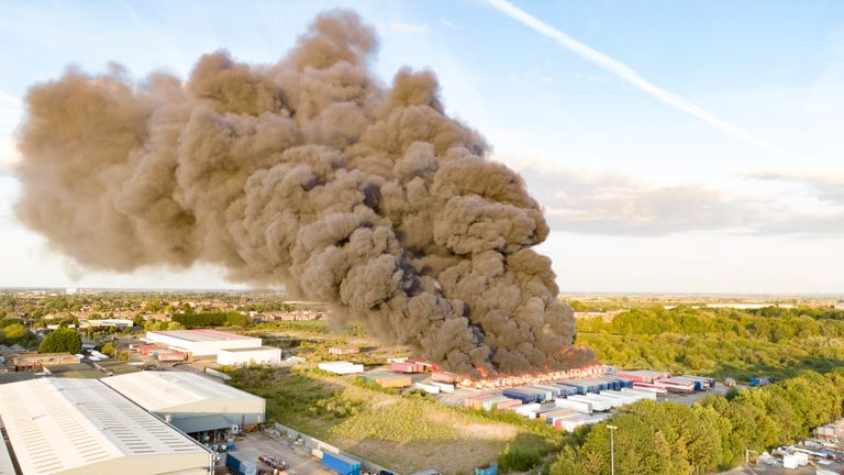 Smoke could be seen billowing into the sky after the fire broke out in Peterborough. Pic: Terry Harris
