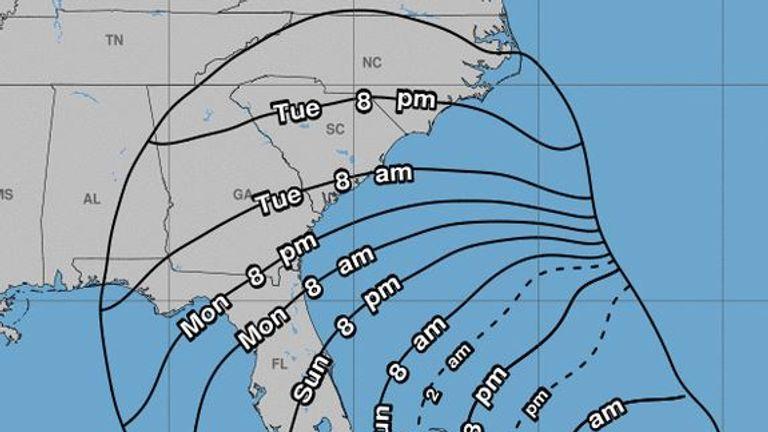 Dorian is predicted to skirt the coast along Georgia and head to the Carolinas
