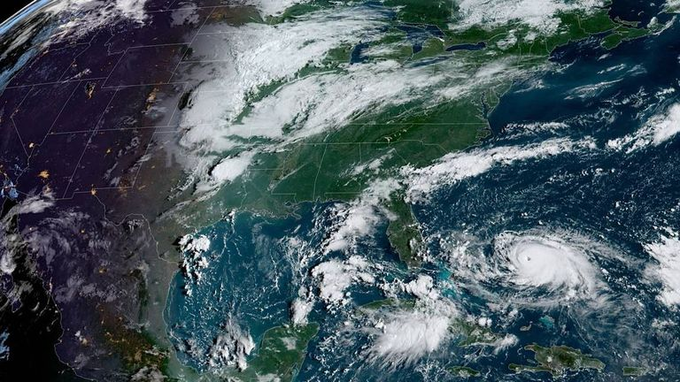 The storm is now predicted to skirt the coast along Georgia and continue north towards the Carolinas. Pic: NHC