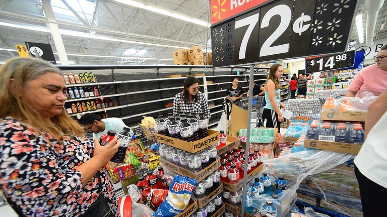 Shoppers have been stocking up on supplies in Florida ahead of Hurricane Dorian's arrival
