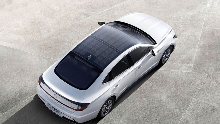 The new model has solar panels on its roof. Pic: Hyundai