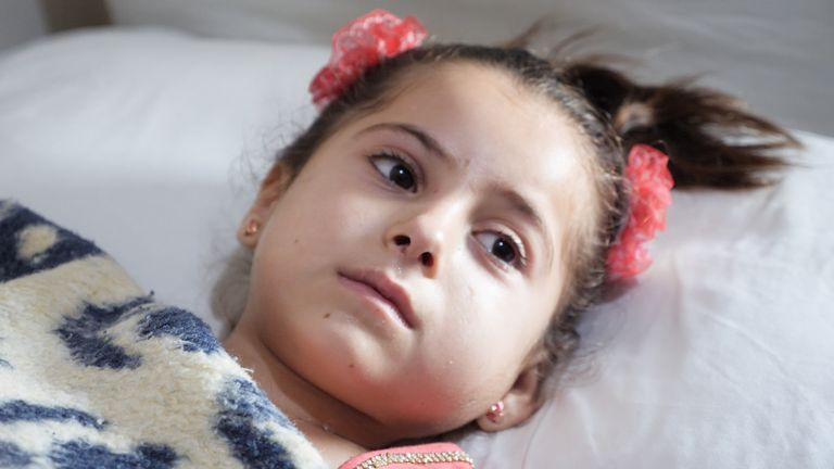 A girl traumatised by fighting in Idlib