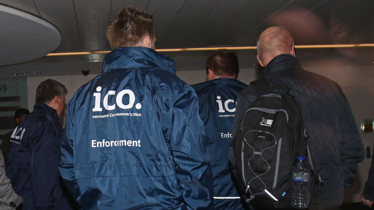 Enforcement officers working for the Information Commissioner's Office entering the offices of Cambridge Analytica in central London after a High Court judge granted a search warrant.
