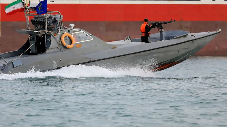Iranian Revolutionary Guards in a speedboat patrolling the British-flagged Stena Impero