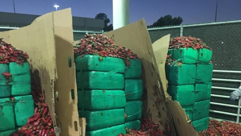 Several thousand kilograms of marijuana was discovered hidden among the jalapeno shipment
