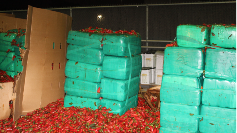 Hundreds of marijuana packages had been hidden among the jalapeno peppers