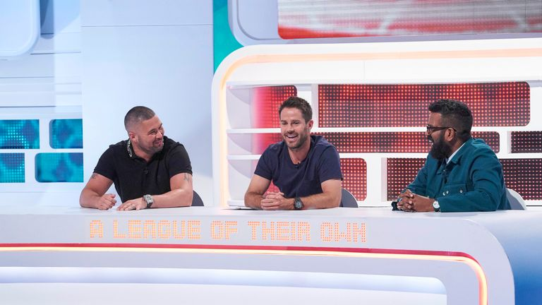 (L-R): Tony Bellew, Jamie Redknapp and Romesh Ranganathan on A League Of Their Own. Pic: © Sky/Andrea Southam