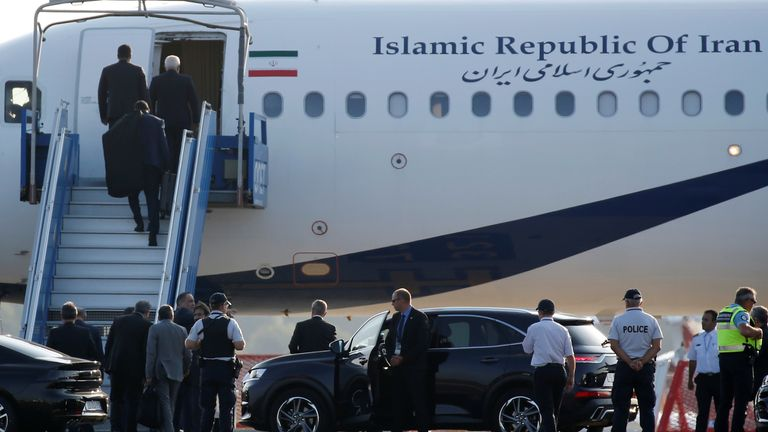 An Iranian government plane is seen on the tarmac at Biarritz airport