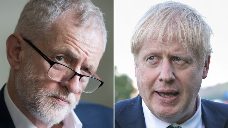 Labour leader Jeremy Corbyn and Prime Minister Boris Johnson