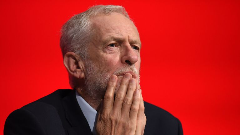 Britain's opposition Labour party leader Jeremy Corbyn looks on, on the third day of the Labour party conference in Liverpool, north west England on September 25, 2018. (Photo by Oli SCARFF / AFP)        (Photo credit should read OLI SCARFF/AFP/Getty Images)