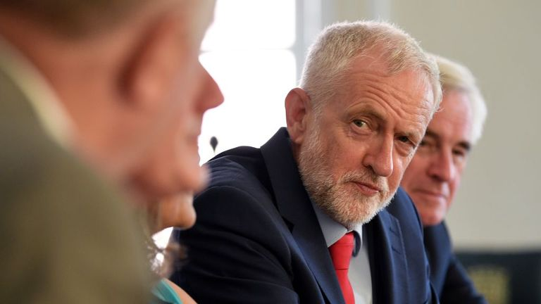 """Britain's opposition Labour Party leader, Jeremy Corbyn, poses for a photograph as he prepares to meet with leaders of Britain's other political parties to discuss options for Brexit, in Portcullis House, central London on August 27, 2019. - Labour leader Jeremy Corbyn will on Tuesday attempt to bridge deep divisions with other opposition parties on how to avoid Britain crashing out of the EU on October 31. Corbyn said he would """"do everything necessary"""" to stop a no-deal Brexit, following leaked"""