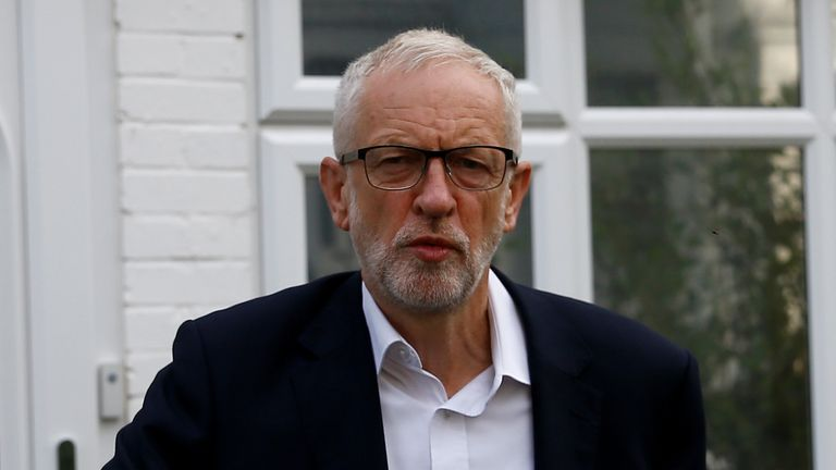 Jeremy Corbyn leaves his home in London
