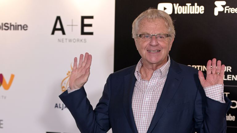 Broadcaster Jerry Springer at the Edinburgh TV Festival on August 23, 2019 in Edinburgh, Scotland
