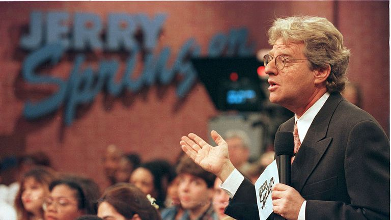 Jerry Springer Speaks To Guests During His Show December 17, 1998. The Show Which Features Violent Outbrusts And Adult Content Has Been Soaring In The Ratings. (Photo By Getty Images)