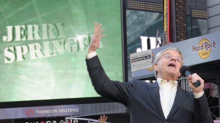 "TV Host Jerry Springer celebrates the taping of ""The Jerry Springer Show"" 20th anniversary show at Military Island, Times Square on October 11, 2010 in New York City"