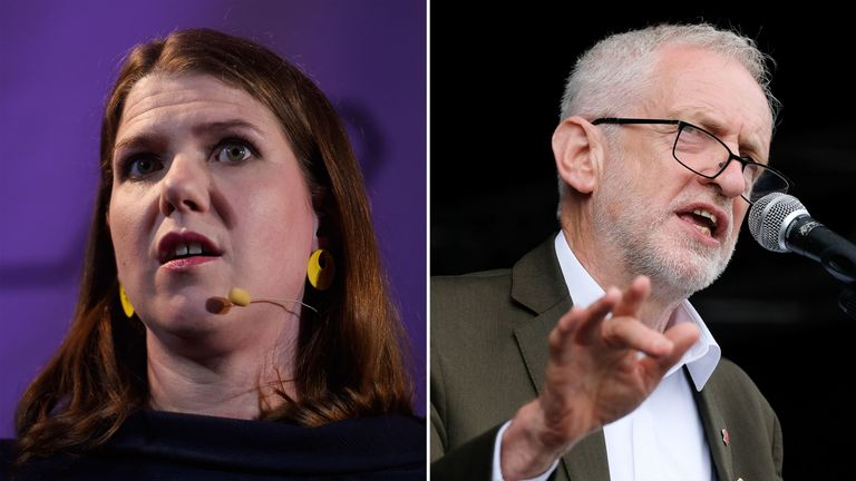 Jo Swinson and Jeremy Corbyn