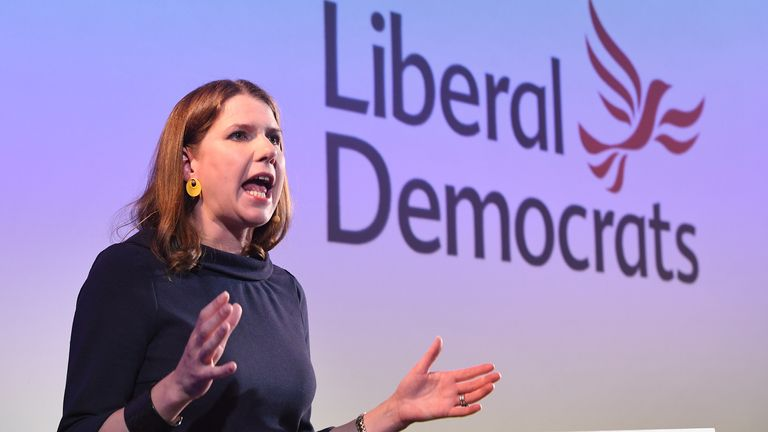 Jo Swinson giving her first major speech as Leader of the Liberal Democrats