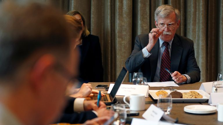 U.S. National Security Adviser, John Bolton, meets with journalists during a visit to London, Britain August 12, 2019