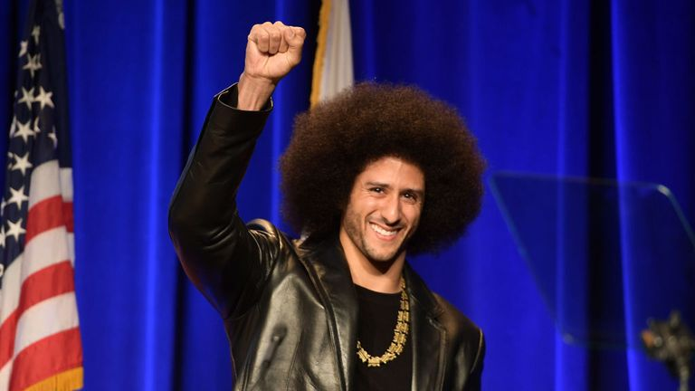 Honoree Colin Kaepernick speaks onstage at ACLU SoCal Hosts Annual Bill of Rights Dinner at the Beverly Wilshire Four Seasons Hotel on December 3, 2017