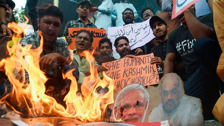 People burned pictures of the Indian prime minister