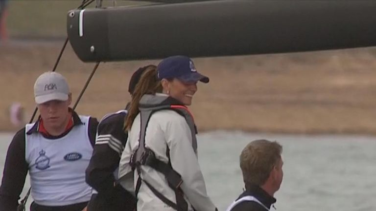 The duchess of Cambridge takes part in the King's Cup regatta