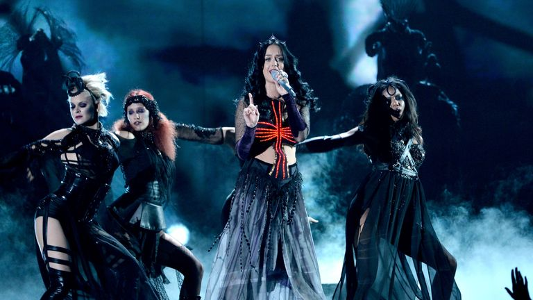 Katy Perry performs Dark Stage on stage during the 56th GRAMMY Awards at Staples Center on January 26, 2014 in Los Angeles, California