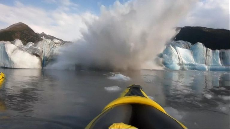 'We're lucky to be alive': Kayakers record close encounter with collapsing glacier