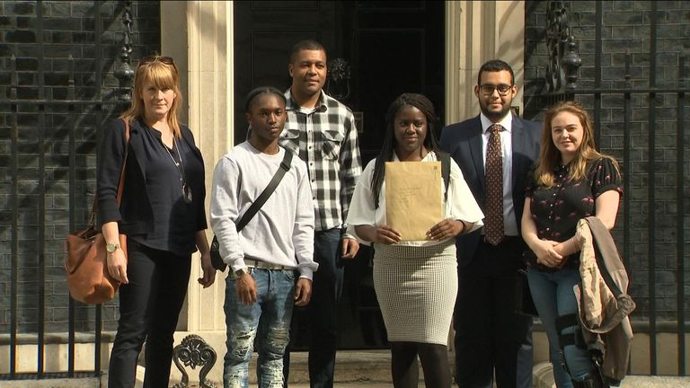 A group of young people and MP Sarah Jones deliver a letter to Downing Street calling on the PM to do more to tackle knife crime