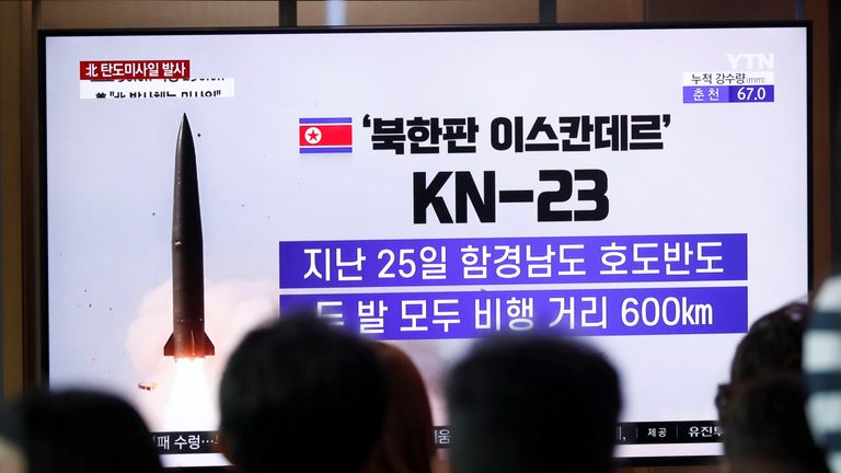 People watch a TV broadcast of a news report on North Korea firing short-range ballistic missiles, in Seoul, South Korea, July 31, 2019. REUTERS/Kim Hong-Ji