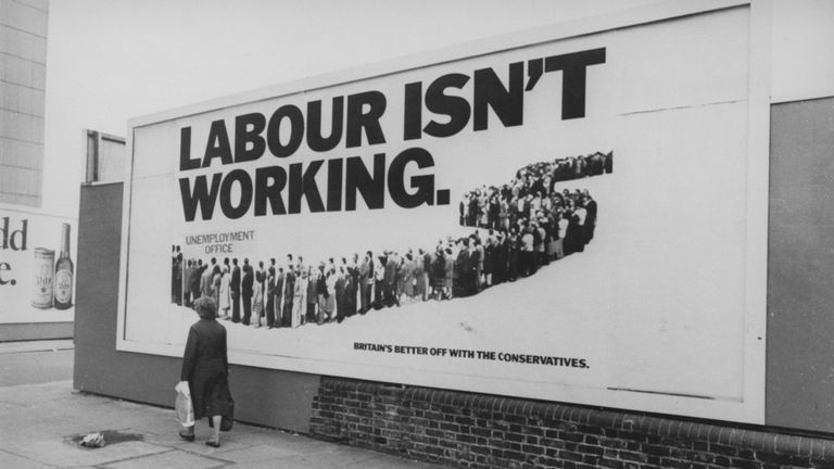 A billboard reading 'Labour Isn't Working', a Conservative Party run advertising campaign