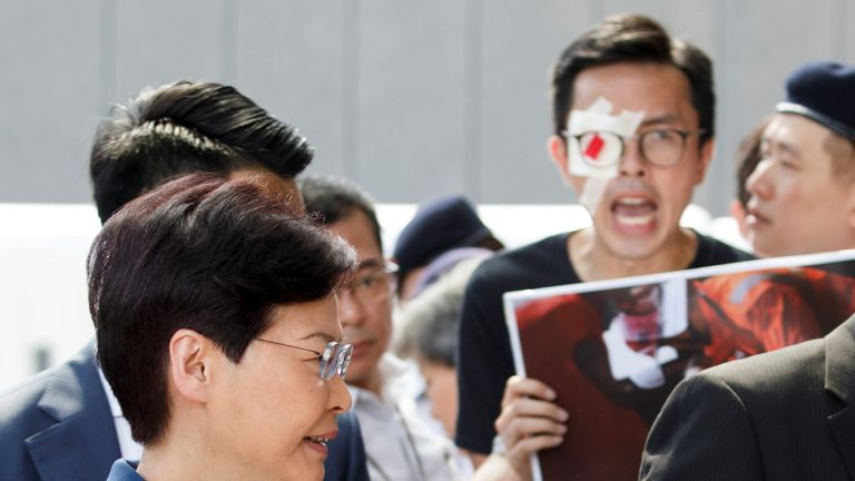 Mrs Lam pleaded with protesters not to push the territory to the brink