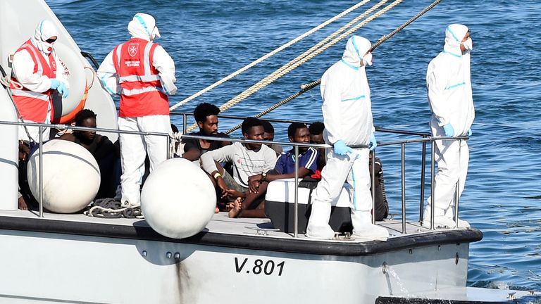 The minors were taken off the boat by police and taken to Lampedusa